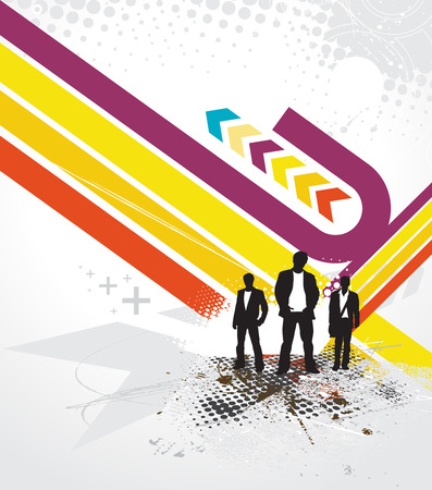 space wars: Abstract futuristic background with standing businessman . Vector illustration.