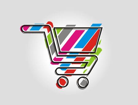 icon shopping cart: Rainbow shopping Cart Farbsymbol, illustration
