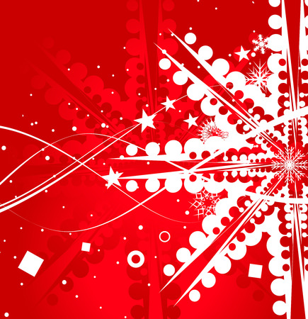Abstract christmas snow on red background= Vector