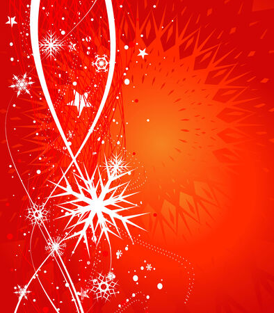 Abstract christmas snow on red background Stock Vector - 5823475