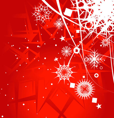 Abstract christmas snow on red background Stock Vector - 5823474