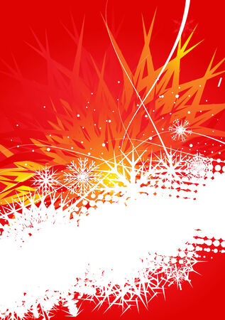 Abstract christmas snow on red background Stock Vector - 5823478