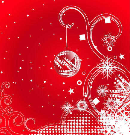 Abstract christmas ball on red background, vector illustration for xmas Stock Vector - 5854075