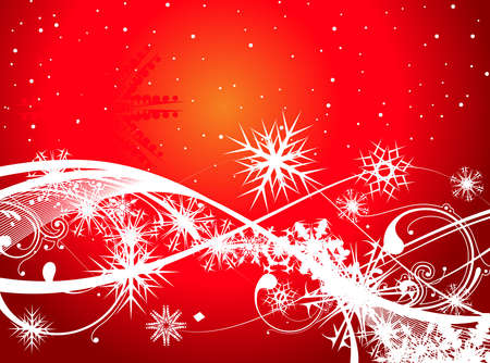 Abstract christmas snow on red background, vector illustration for xmas Stock Vector - 5854082