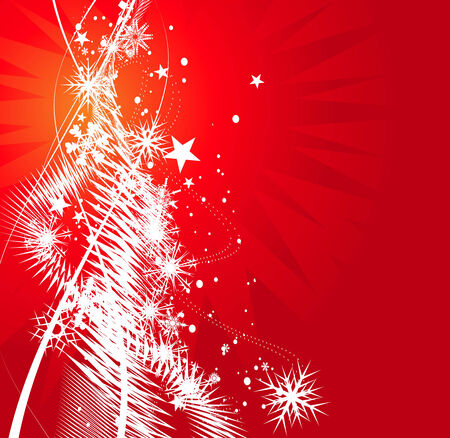 Abstract christmas snow on red background, vector illustration for xmas Stock Vector - 5854073