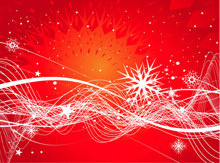 Abstract christmas snow on red background, vector illustration for xmas Vector