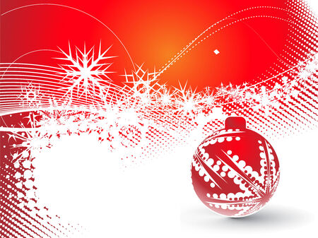 Abstract christmas ball on red background, vector illustration for xmas Stock Vector - 5854077