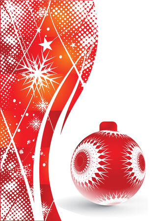 Abstract christmas ball on red background, vector illustration for xmas Stock Vector - 5854076