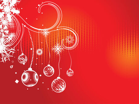 Abstract christmas ball on floral background, vector illustration for xmas Stock Vector - 5854089