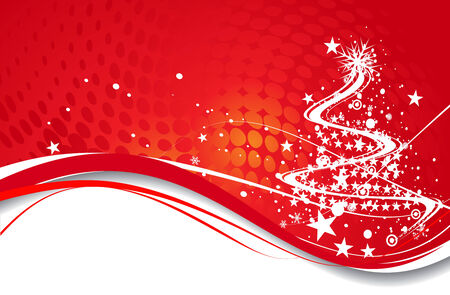 Abstract christmas tree on red background, vector illustration for xmas Stock Vector - 5854086