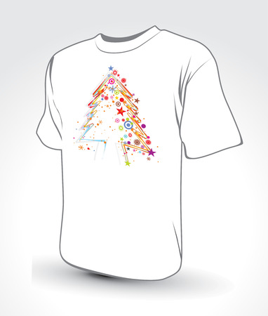 white t-shirt with  christmas background, vector illustration Vector