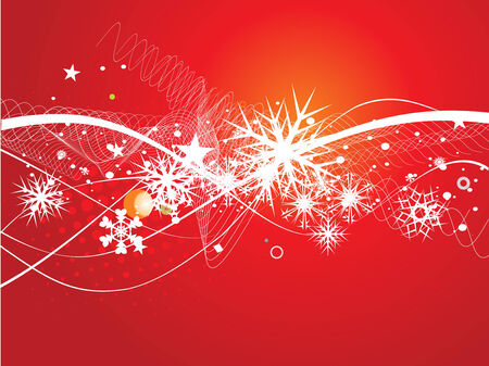 Abstract christmas tree on red background, vector illustration for xmas Stock Vector - 5854083