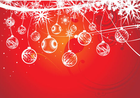 Abstract christmas balls on snow background, vector illustration for xmas Stock Vector - 5854091