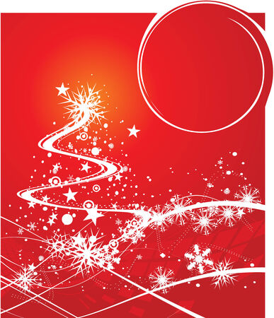 Abstract christmas tree on red background, vector illustration for xmas   Vector