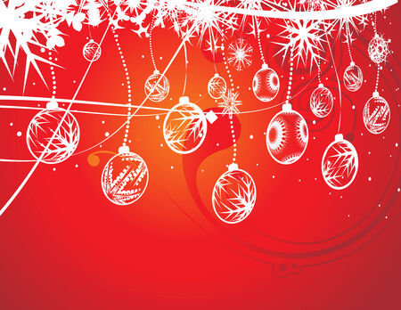 Abstract christmas ball on red background, vector illustration for xmas Stock Vector - 5883864