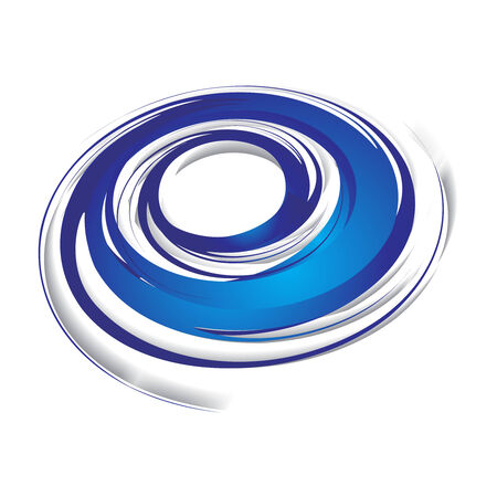 vortex: 3d abstract blue swirl wave on a white background, vector illustration