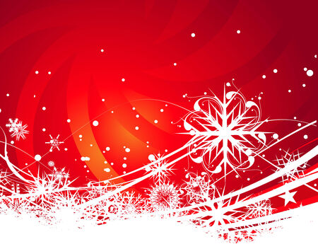 christmas snow: Abstract christmas snow on red background, illustration for xmas