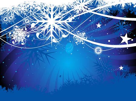 silhouette arbre hiver: R�sum� de No�l neige sur ondes ligne de fond, illustration pour No�l  Illustration