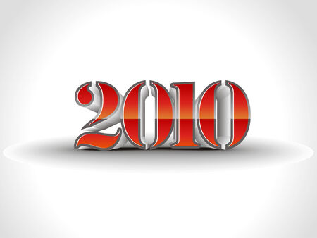 3d new year 2010  in white background. illustration
