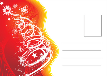 mailer: christmas post card on tree and stars with space of your text, vector illustration