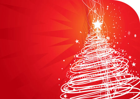 winter wonderland: Abstract christmas tree on red background, vector illustration for xmas