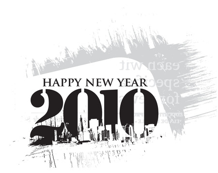 new beginnings: grunge composition with 2010 new year vector design. vector illustration