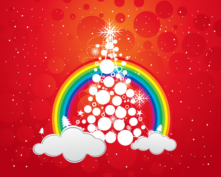 Abstract christmas wave line tree with rainbow background, vector illustration for xmas Vector
