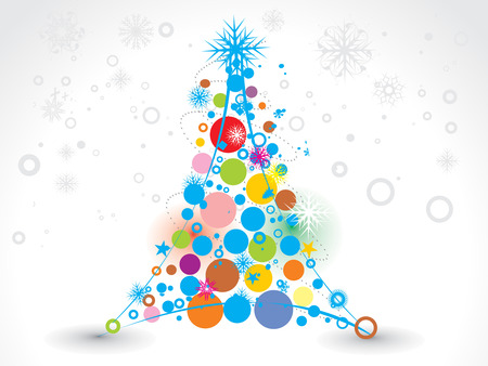 circul: Abstract christmas tree on white background, vector illustration for xmas Illustration