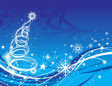 Abstract christmas wave line tree with snow background, vector illustration for xmas Stock Vector - 6035486