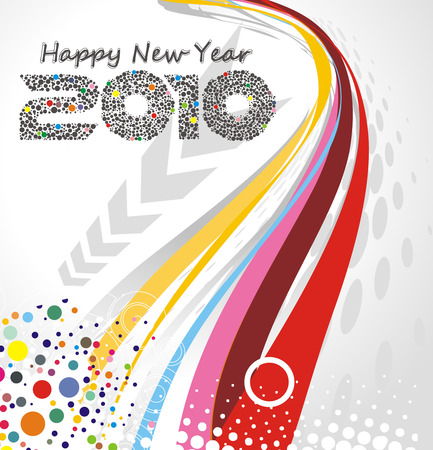 abstract wave line background with  new year 2010. Vector illustration Vector
