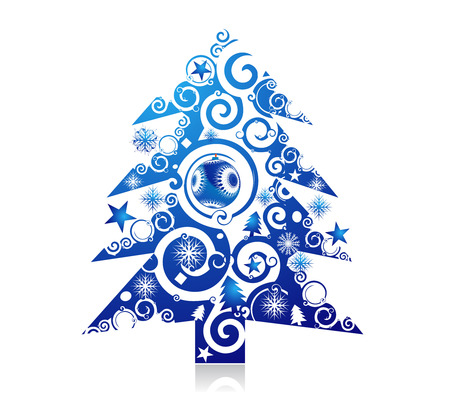 Abstract christmas tree on white background, vector illustration for xmas Stock Vector - 6035907