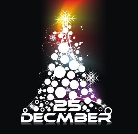circul: Xmas snow background with  new year 2010  in rainbow background. Vector illustration Illustration