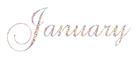 månader: The month of January in letterpress type on a white background.