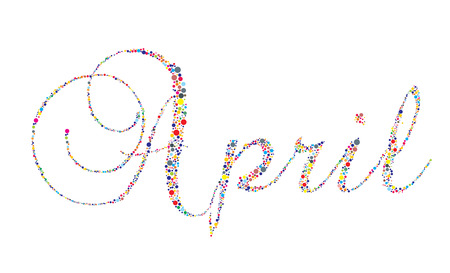 The month of April in letterpress type on a white background. Vector