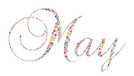 diciembre: El mes de mayo en tipografía tipo sobre un fondo blanco.  Vectores