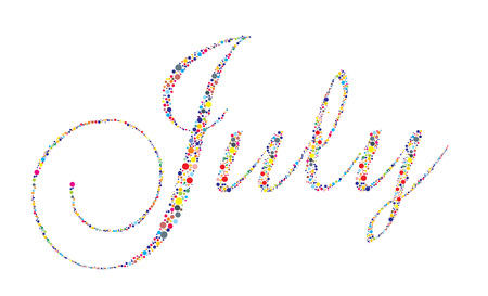 The month of July in letterpress type on a white background. Vector