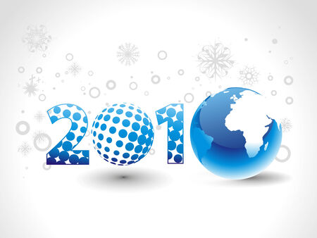 circul: globe with create new year 2010  background. Vector illustration