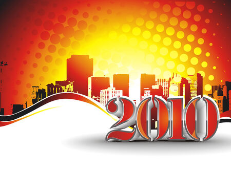 circul: urban city with  new year 2010. Vector illustration