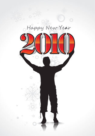 circul: young man with  new year 2010 background. Vector illustration Illustration