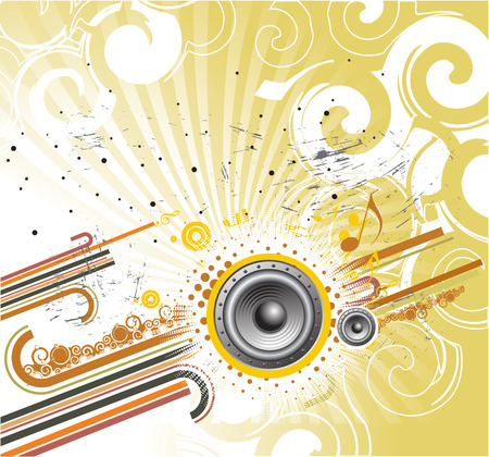 abstract grunge illustration on a musical theme, vector illustration Vector