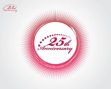 backgroud: 25th anniversary with halftone backgroud, vector illustration. Illustration