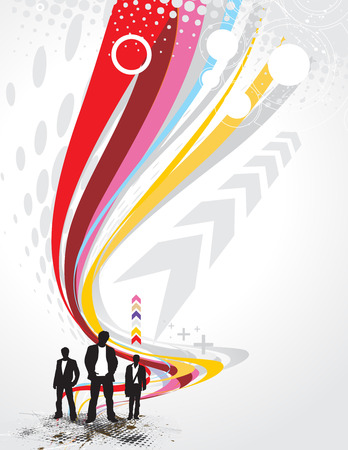 Abstract rainbow wave line background with standing businessman .  Vector