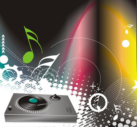 dj mixer: illustration on a musical theme with turntable mixing beats Illustration