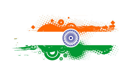 26th: flag of India with white background, illustration Illustration