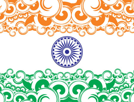 wave tourist: flag of India with white background, illustration Illustration