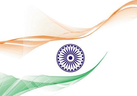bandera de la india: Bandera de la India con fondo blanco, ilustraci�n