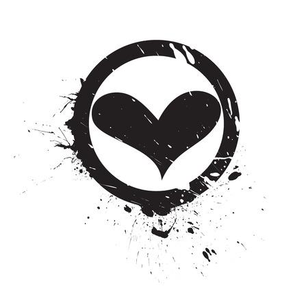 illustraton: Abstract valentines day card with grungeink splate heart ,vector illustraton Illustration