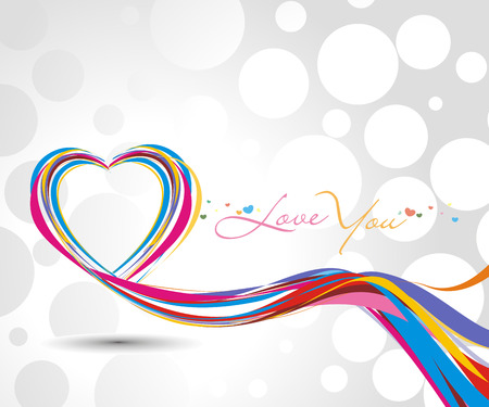 rainbow colorful lines crossing each other on heart shape ,vector illustration  Vector