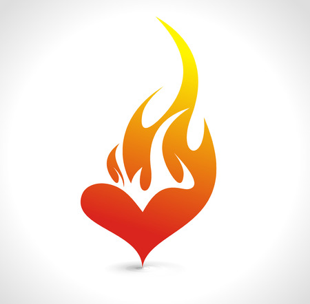 Abstract valentines day card with fire heart background, vector illustration