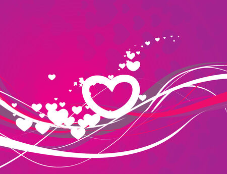 Abstract valentines day card with wave line heart background, illustration Vector
